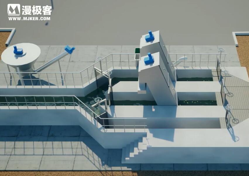 污水处理流程三维亚博足彩app演示